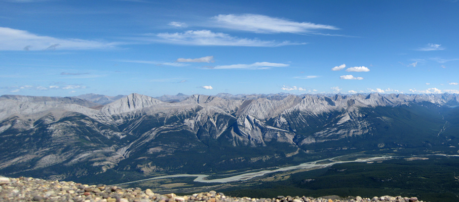 The Athabasca River and the Colin Range from the summit