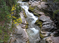 Rock terraces in the lower section of Maligne Canyon