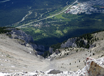 The Bow Valley from near the summit of Grotto Mountain