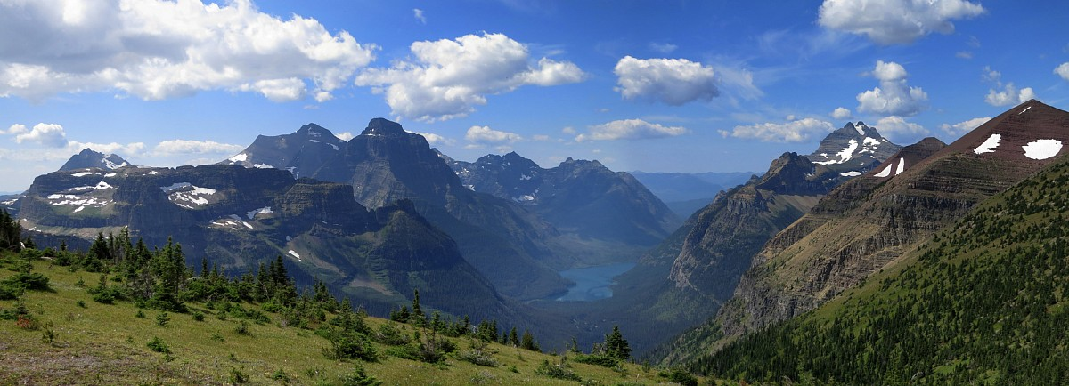 The striking view from Forum Peak across the border towards Kintla Lake in neighbouring Glacier National Park