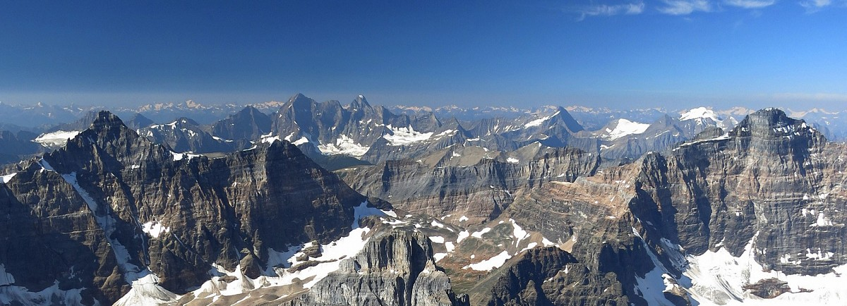 11,000 ft. giants such as Deltaform, The Goodsirs and Hungabee dominate the skyline to the southwest of Mt. Temple
