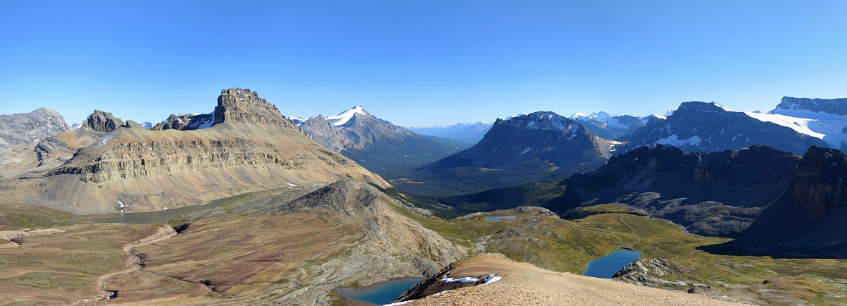 The beautiful southern vista past Helen Lake to Dolomite, Andromache, Hector, Bow and Bowcrow