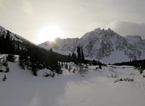 The sun sets behind Terminal Mountain at the head of Whistler's Creek