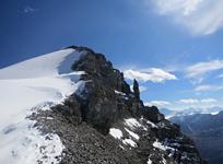 Climbing the impressive summit ridge of Nigel Peak in Jasper National Park
