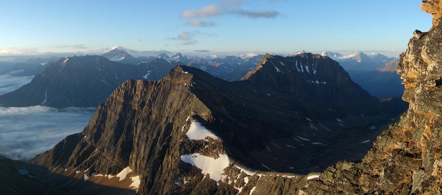The southward view of Geraldine Peak, Mt. Fryatt and Cavell's southern ridge