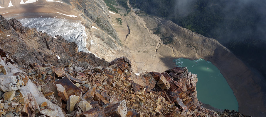 Gazing down the north face at Angel Lake and the parking area