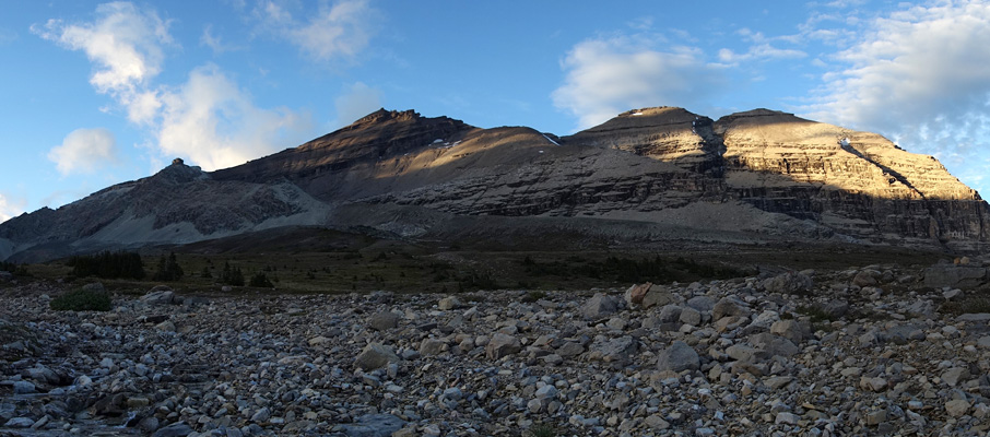 A sunset view of Mt. Willingdon, Crown Peak and South Tower from near our camp at Devon Lakes