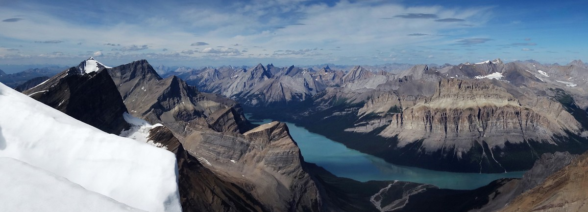Charlton, Unwin and the rest of the magnificent Maligne Lake region from the summit.
