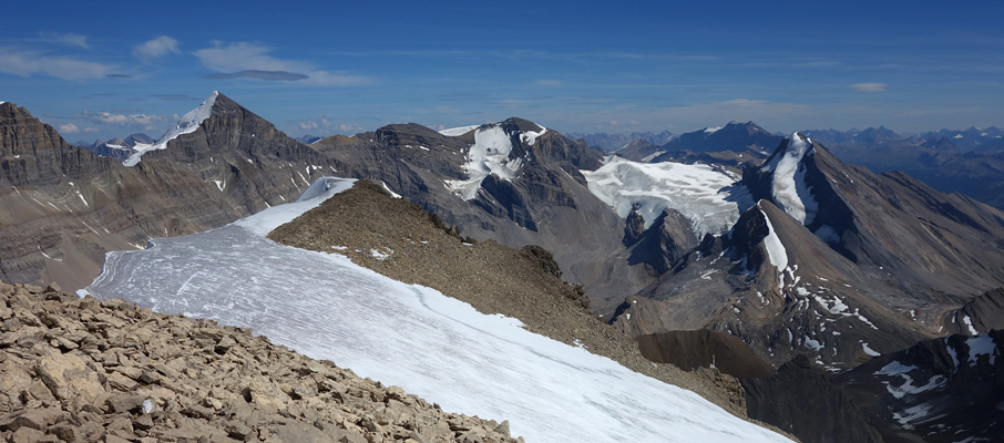 Mt. Warren, Mt. Brazeau, Valad Peak, Mt. Henry McLeod and Coronet Mountain from the summit.
