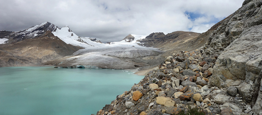 Following the climbers' route towards the Des Poilus Glacier and the Collie/Yoho col (distant right).