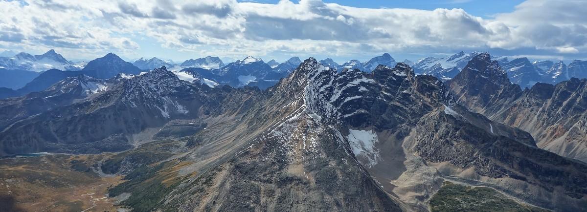 The stunning western vista over Chevron Mountain into British Columbia