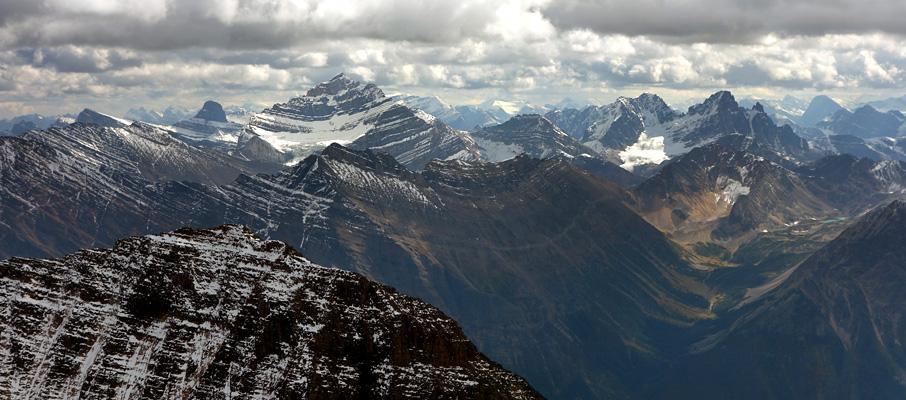 The southern summit view towards Mt. Fryatt, one of Jasper's many 11,000ers.