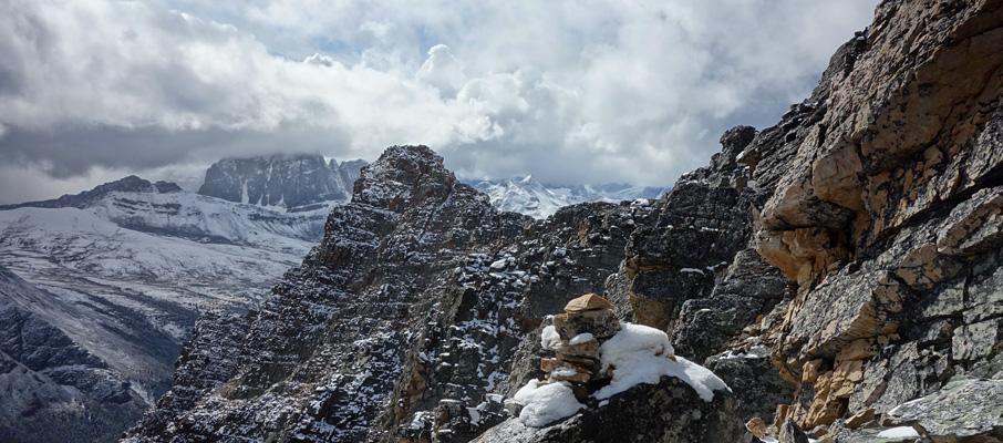 Clearing skies as I near the summit on Peveril Peak