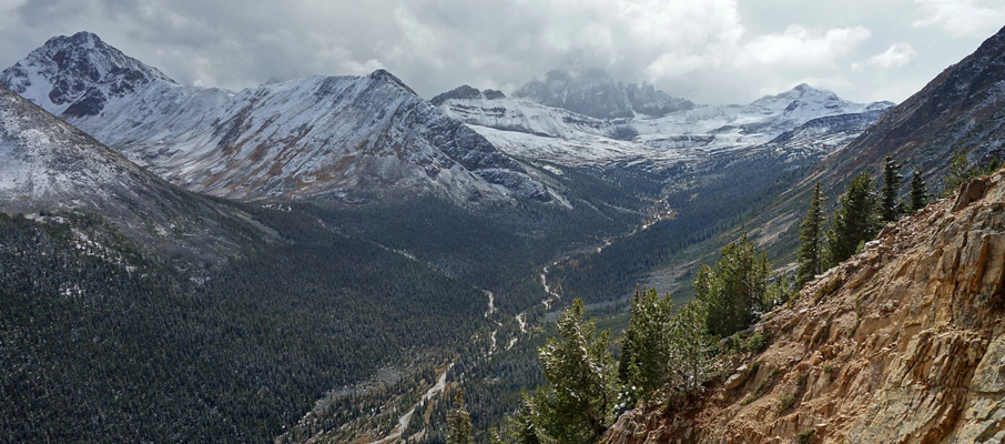 Looking up the Portal Creek valley approach to Maccarib Pass, with Oldhorn Mountain and Maccarib Mountain above the pass.