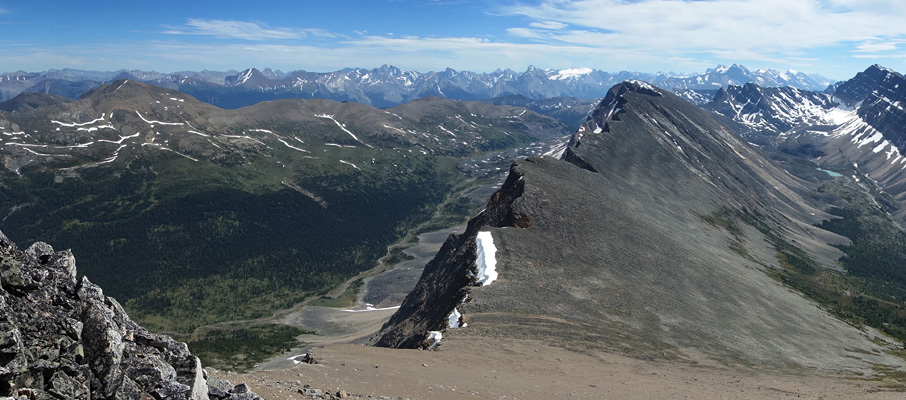 The summit view from Mt. Hardisty towards the Maligne Lake Region.
