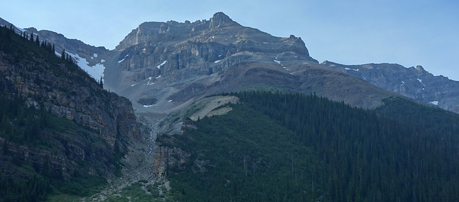 Looking up the very foreshortened ascent gully on Mt. Aberdeen from Paradise Valley with Haddo Peak to the far right.