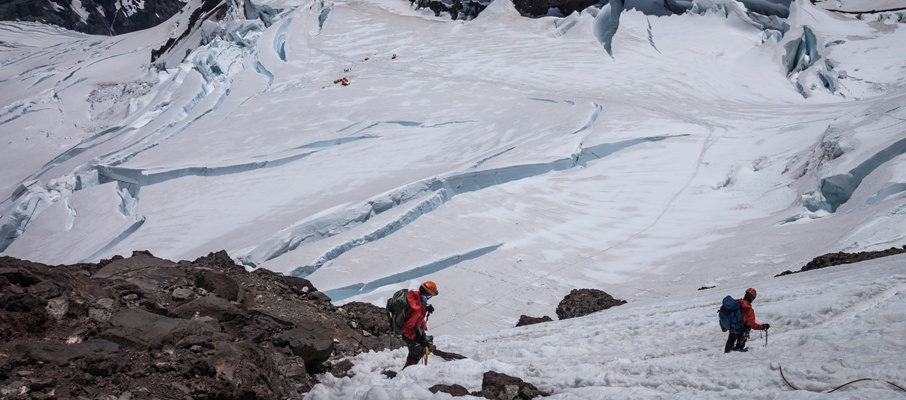 We carefully descend the Disappointment Cleaver above the fractured Ingraham Flats.