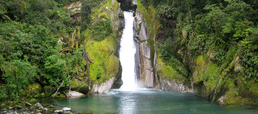 The Giant's Gate waterfall was one several amazing sights along the famed Milford Track in Fiordland National Park, NZ