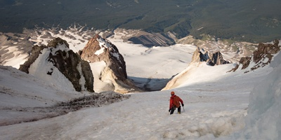 Raf, Jason and I carefully descend the Old Chute route on Mt. Hood in Oregon.