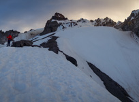 The crater rim of Mt. Hood appears to glow in the dawn light.