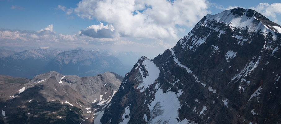 The impressive north face of Mt. Edith Cavell from the summit ridge of Mt. Sorrow