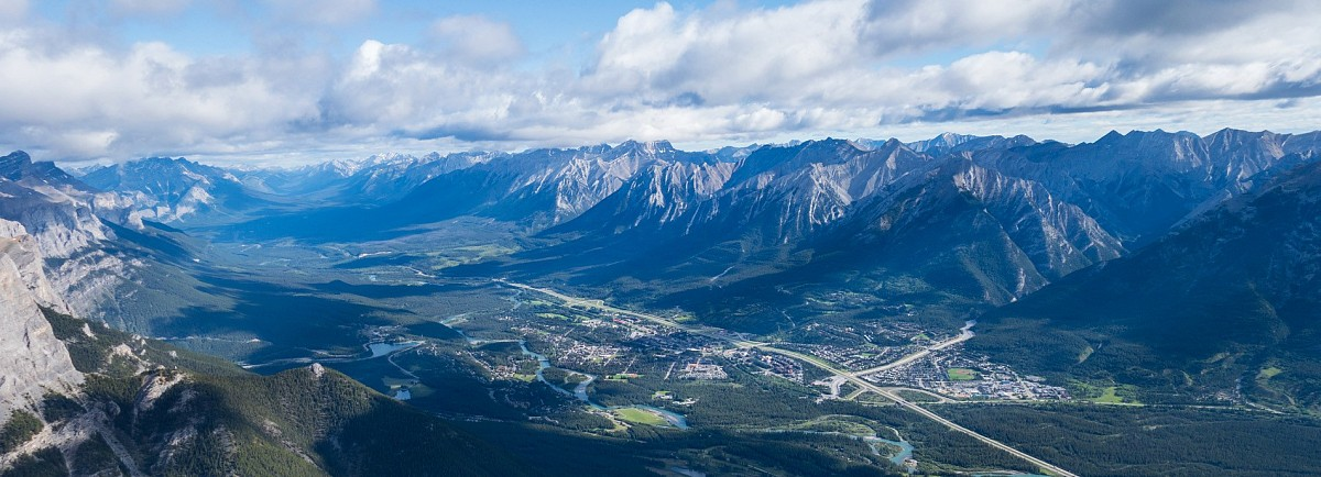 A view of the picturesque Town of Canmore from the summit of Middle Sister