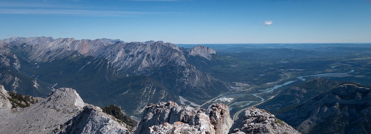The easterly summit view of from Mt. McGillivray including Loder Peak, Yamnuska, and the Bow River